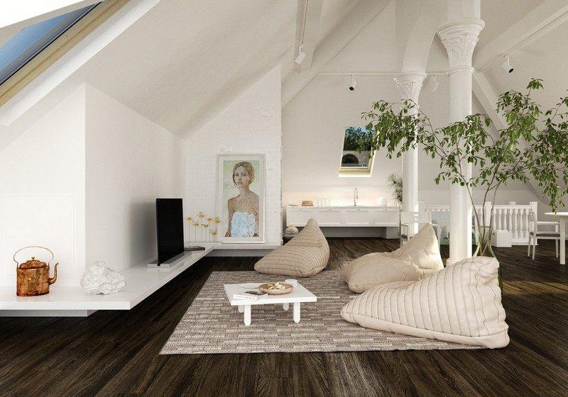 wohnideen fur dachschragen dachzimmer optimal gestalten | sichtschutz, Wohnzimmer