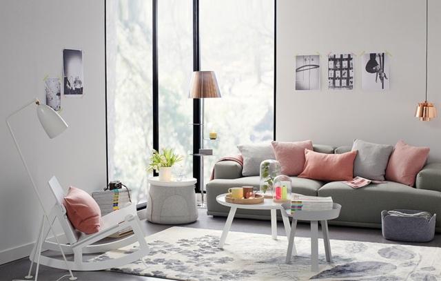 wohnzimmer ideen rosa pastellfarbe grau sofa - boisholz, Mobel ideea