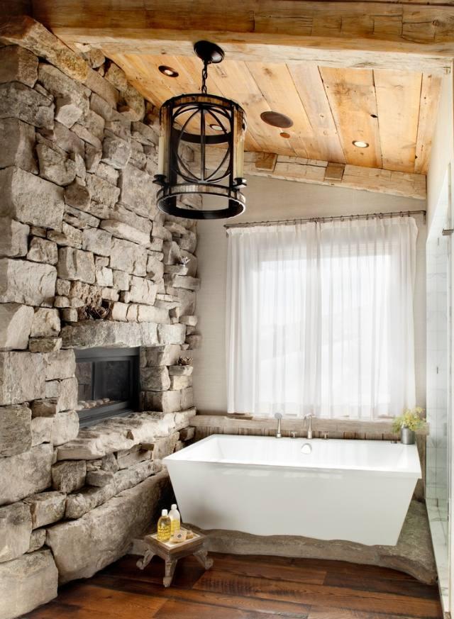 Ideen fr Badeinrichtung mit Kamin Wellness zu Hause