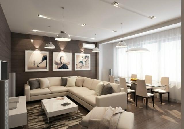 kleines wohnzimmer mit essbereich modern einrichten beige wei ... - Wohnzimmer Beige Braun