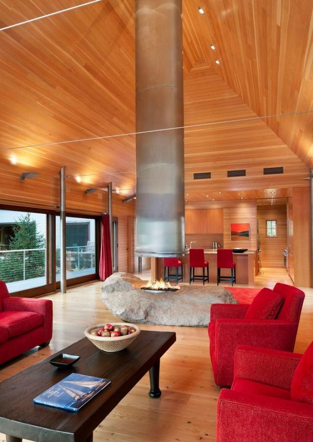 Im Wohnzimmer Wohnzimmergestaltung Mit Stein Steindesign