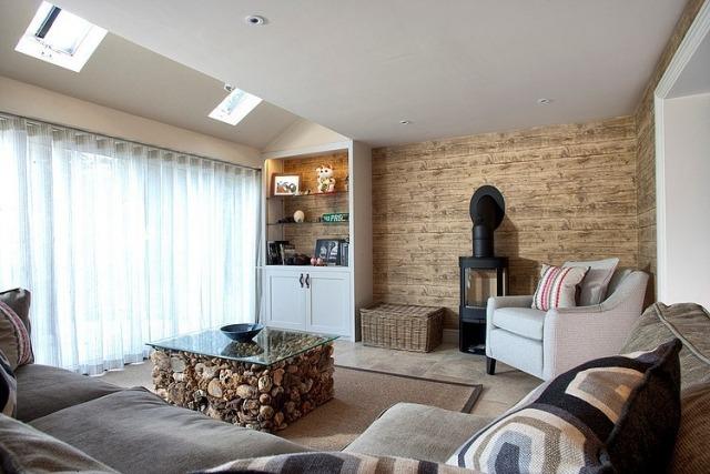 rote akzente wohnzimmer einrichtung idee - meuble garten, Badezimmer