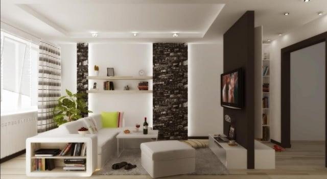 wohnzimmer modern einrichten schwarz weiss indirekte beleuchtung ... - Fototapete Wohnzimmer Schwarz Weiss