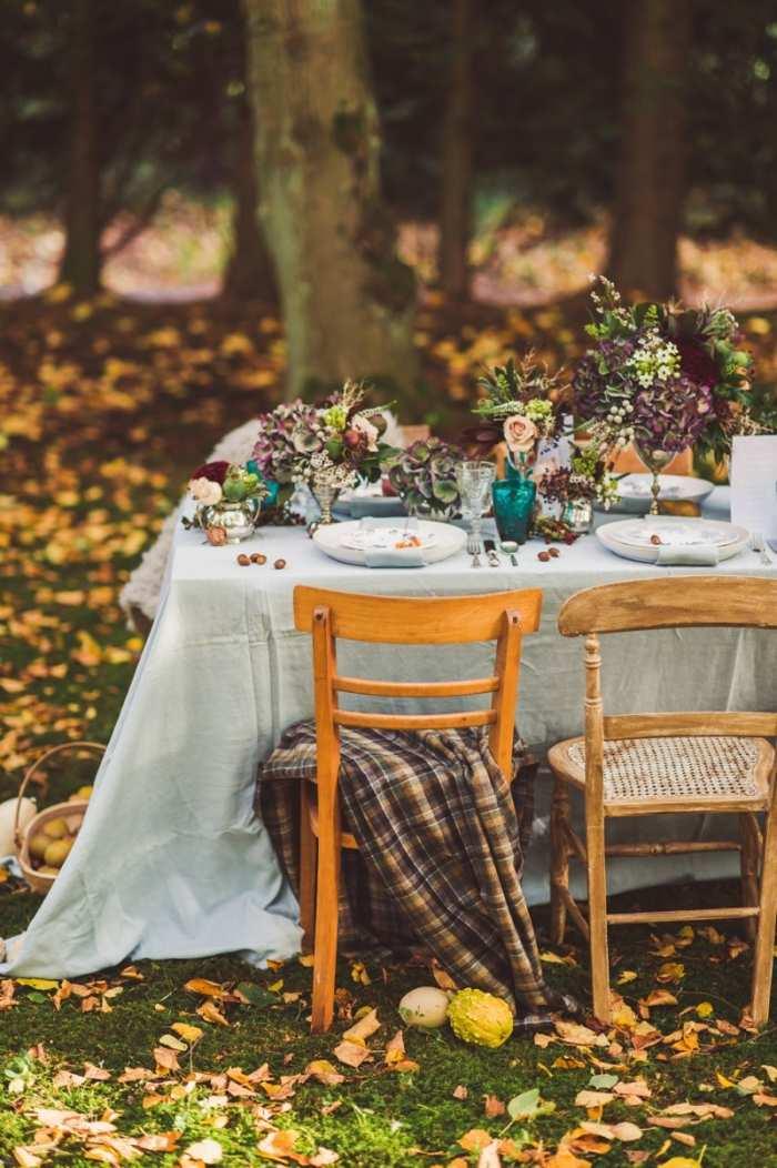Herbst Hochzeit im Wald  Dekoideen fr die Feier im Freien