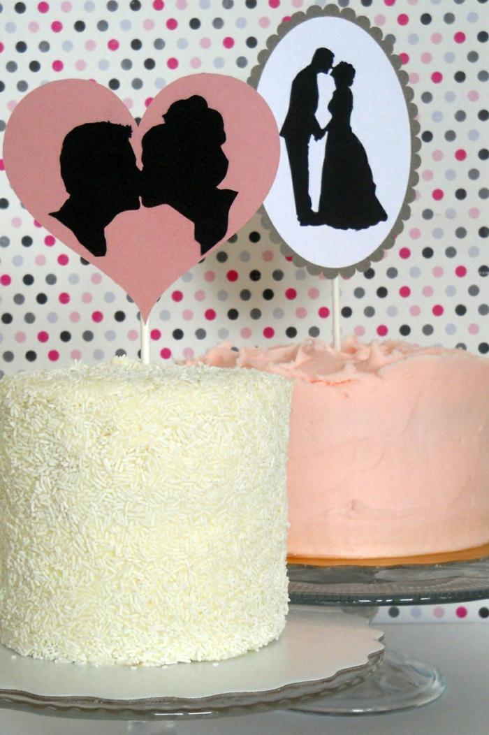 Tortendeko fr Hochzeit  26 Tortenfiguren aus Papier