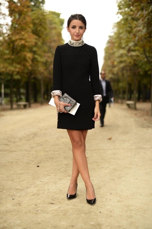 Herbstoutfit Schwarzes Kleid Kragen Armel Schlangenhaut Akzente