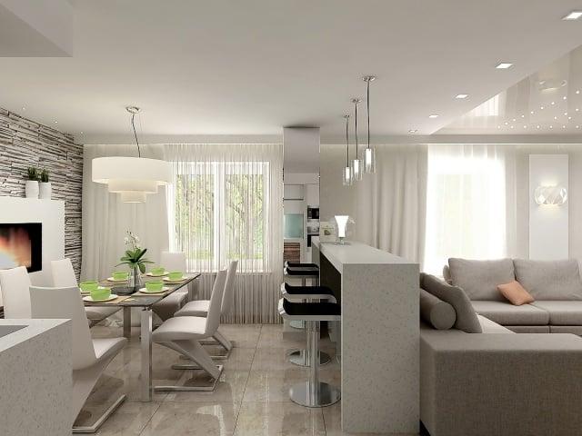 Einrichtungsideen fr Wohnzimmer mit offener Kche