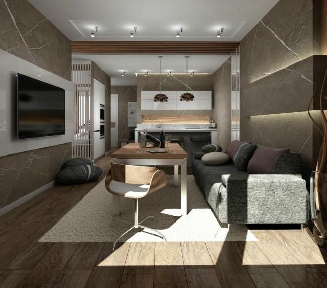 Stunning Moderne Wohnzimmer Mit Offener Kuche Gallery