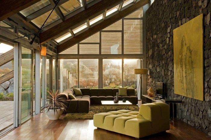 steinwand wohnzimmer haus dekor - boisholz, Mobel ideea