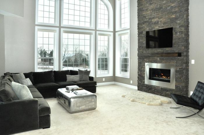 steinwand im wohnzimmer mit luxurioser ausfuhrung wohnzimmer, Mobel ideea