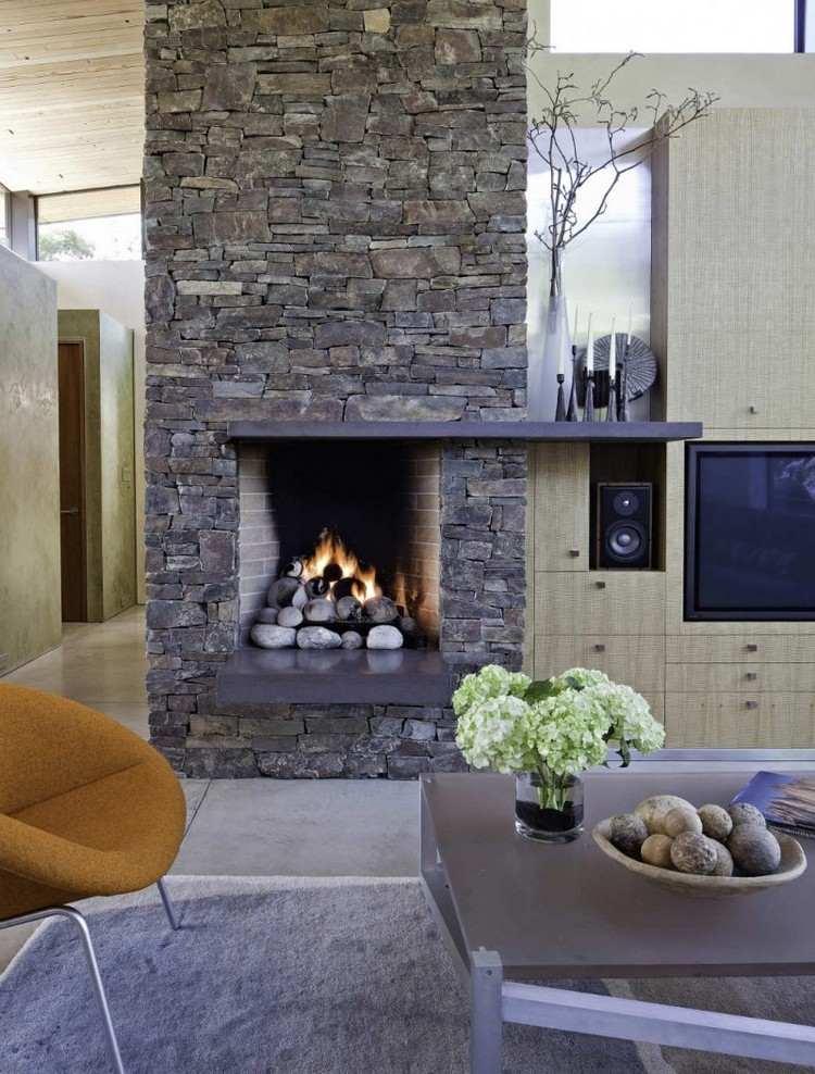 interessant steinwand wohnzimmer beleuchtung patio outside design ... - Wohnzimmer Mit Steinwand Grau