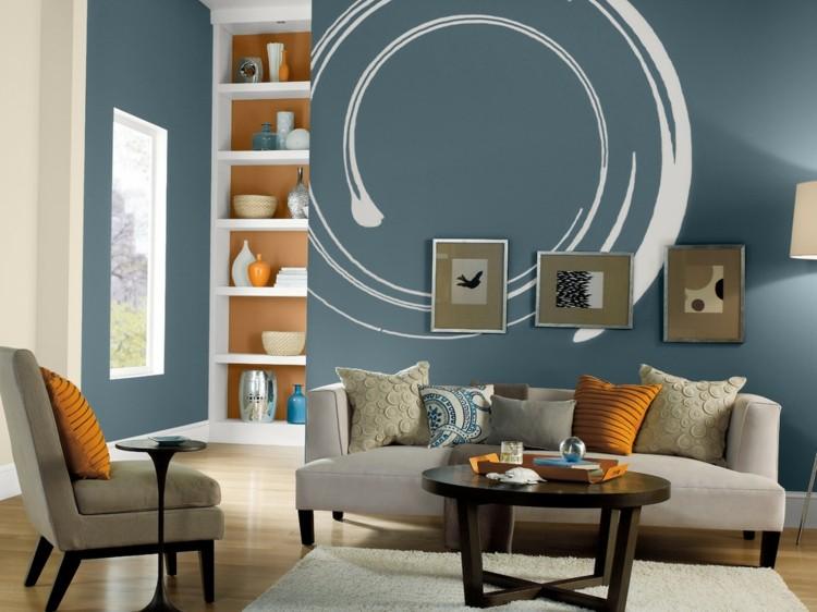 wandgestaltung wohnzimmer beige - boisholz, Mobel ideea