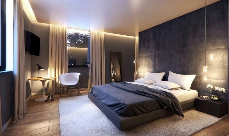 tapeten schlafzimmer blau  ideen für wandstreifen  ein