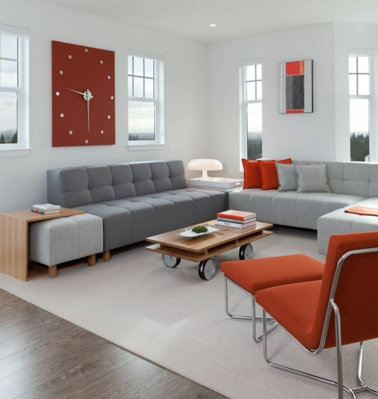 wohnzimmer grau orange - boisholz - Wohnzimmer Grau Holz