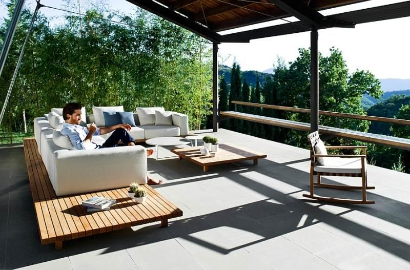 "teak outdoor sofa crescent camerich lounge serie ""vis à vis"" zum idyllischen relax"