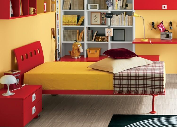 einrichten orange rosa gelb hochbett kleiderschrank wandregale, Schlafzimmer