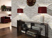 Steinwand im Wohnzimmer - Wanddeko mit Verblendsteinen