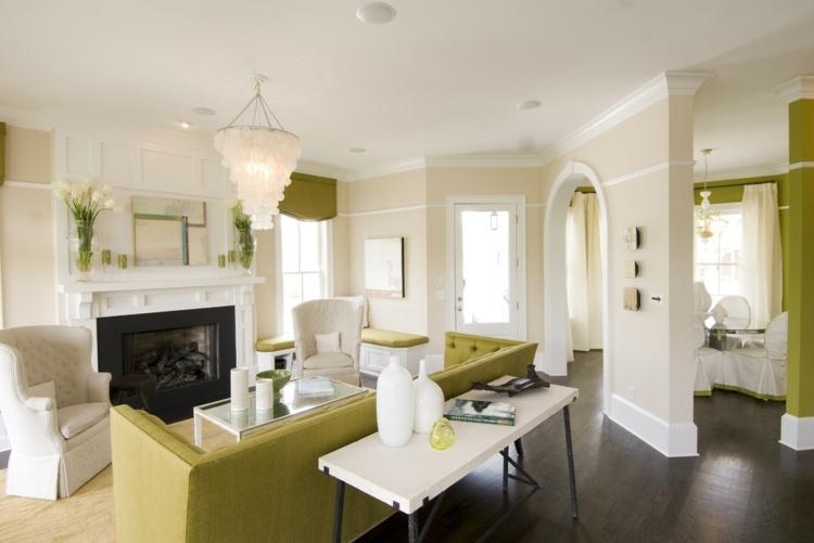 kleines wohnzimmer mit grunem sofa - boisholz