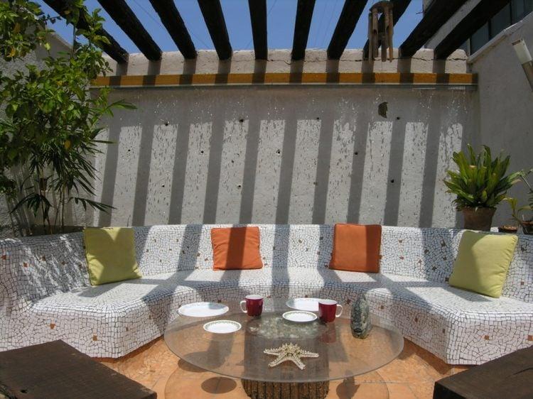 Mosaik im Garten Ideen fr Mosaiktisch und Gartendeko