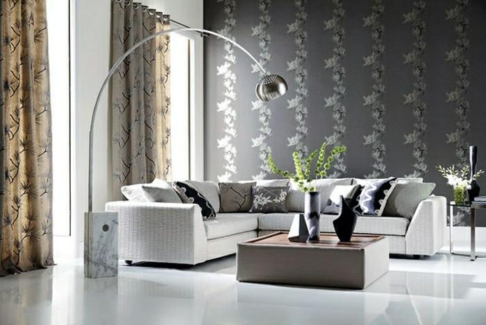 Wohnzimmer Wandgestaltung  Tapeten mit edlen Texturen