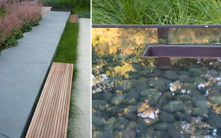 garten pool holz gartenbank hohe stauden | designmore, Landschaftsbau