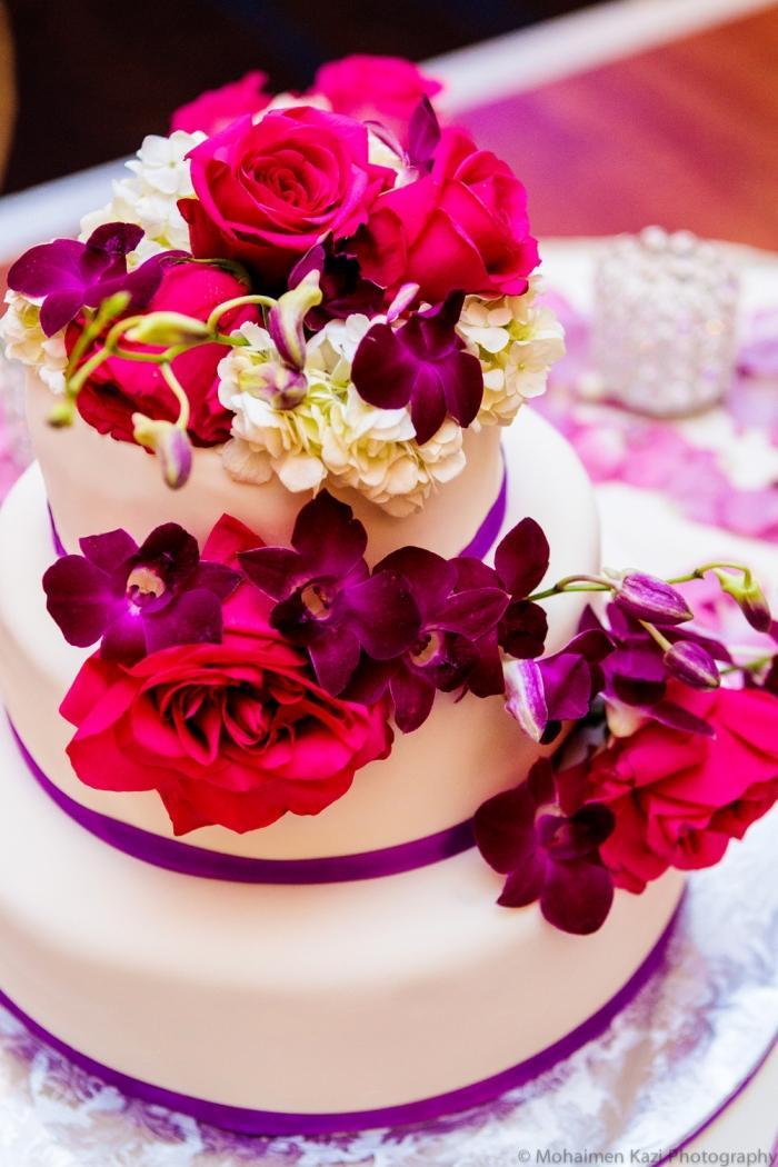 Hochzeitsdeko in Fuchsia Purpur und Violett  Romantik pur