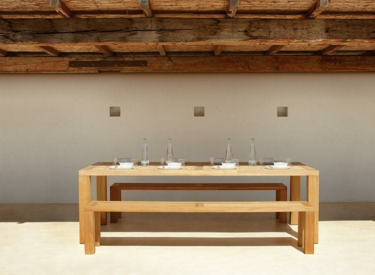 moderne terrassengestaltung teak gartenmobel gartenbank - boisholz, Terrassen ideen
