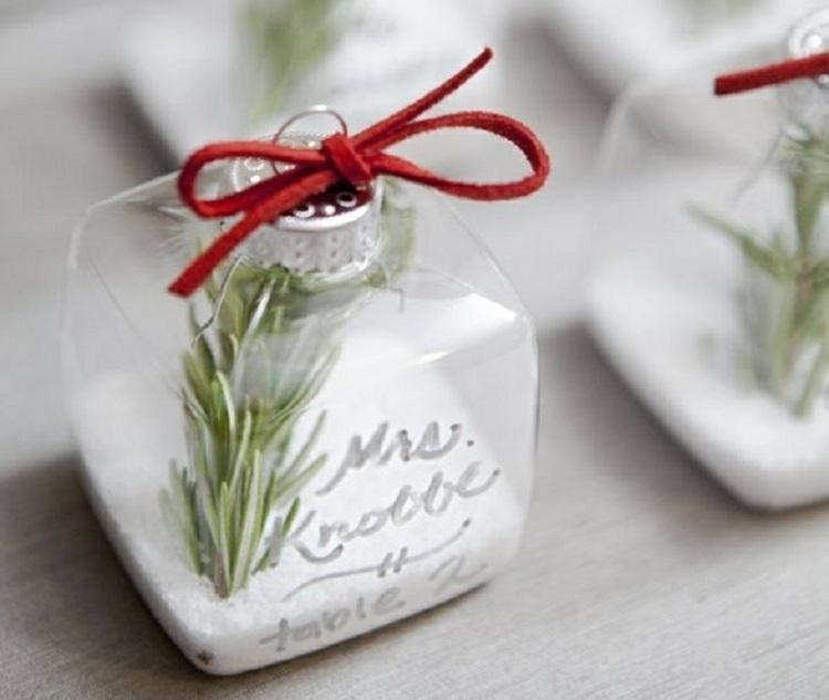 Tischkarten zur Hochzeit im Winter gestalten