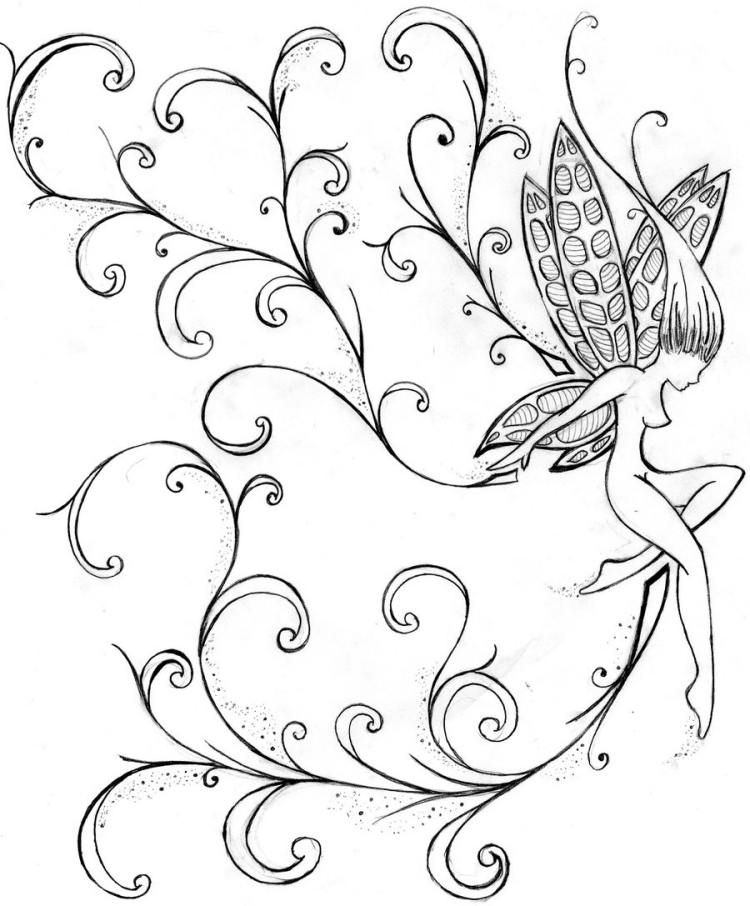 Sketches Of Fairies Drawings Sketch Coloring Page