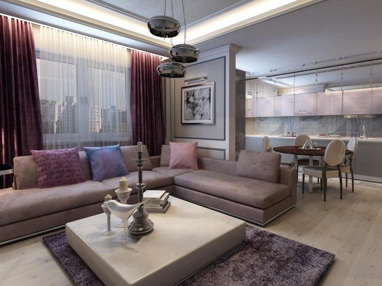 wohnzimmer modern einrichten lila nuancen beige wohnkueche - boisholz - Wohnzimmer Lila Beige