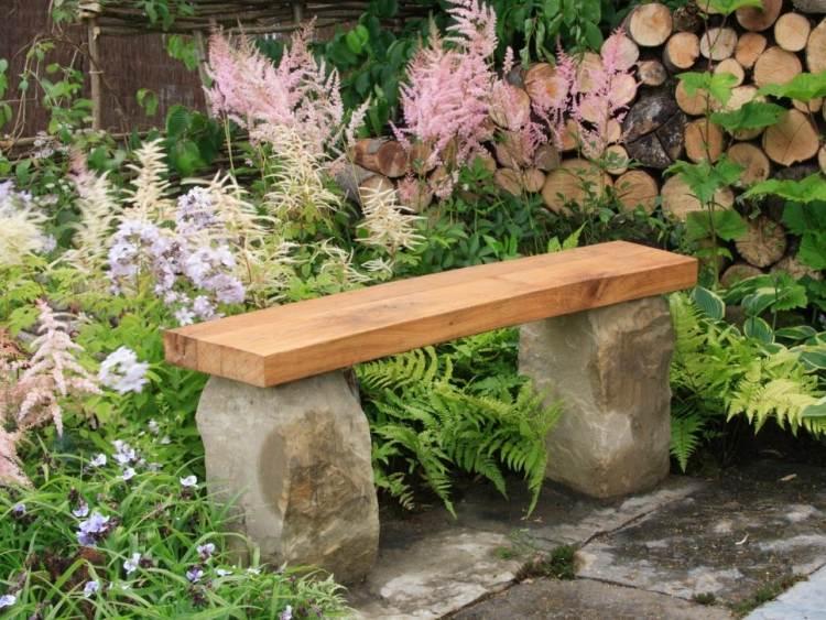gartenbank stein holz selber bauen - boisholz, Garten und erstellen