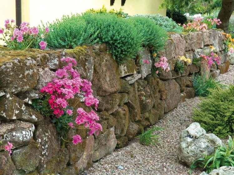 gartengestaltung pflege andschaftsbau steinmauer im garten bauen,