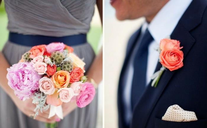 Brautstrau Design und Ansteckblumen fr den Brutigam