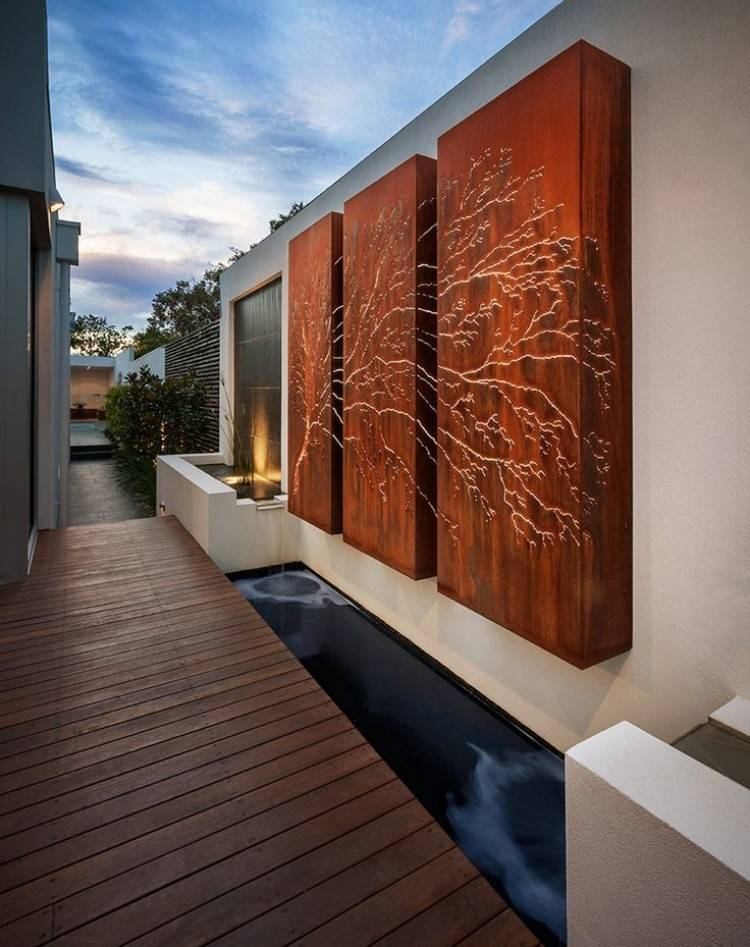 cortenstahl garten ideen wanddeko lasergeschnittene paneele baum, Gartengestaltung
