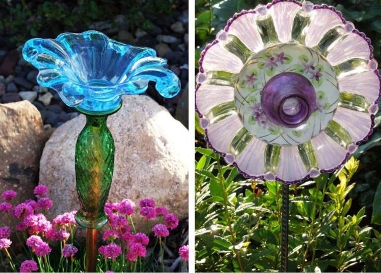 gartenstecker basteln ideen teekanne porzellan glas geschirr, Hause und garten