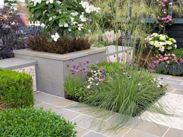 gartengestaltung pflege haus garten pflanzkuebel beton modern, Gartengerate ideen