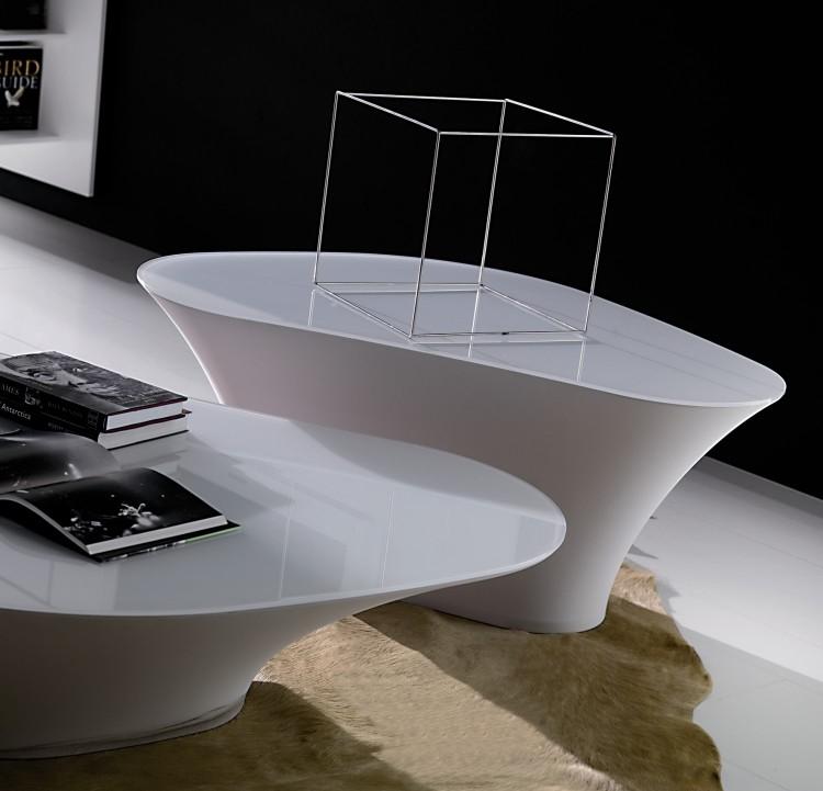 Couchtisch Hochglanz In Wei S Minimalistisch Organisch Hochmodern Designer Tavolino