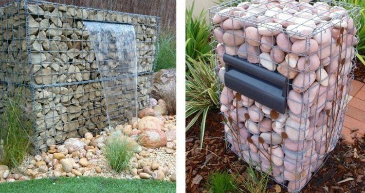deko idee gabionen briefkasten wasserfall steine kaefig - boisholz, Garten und erstellen