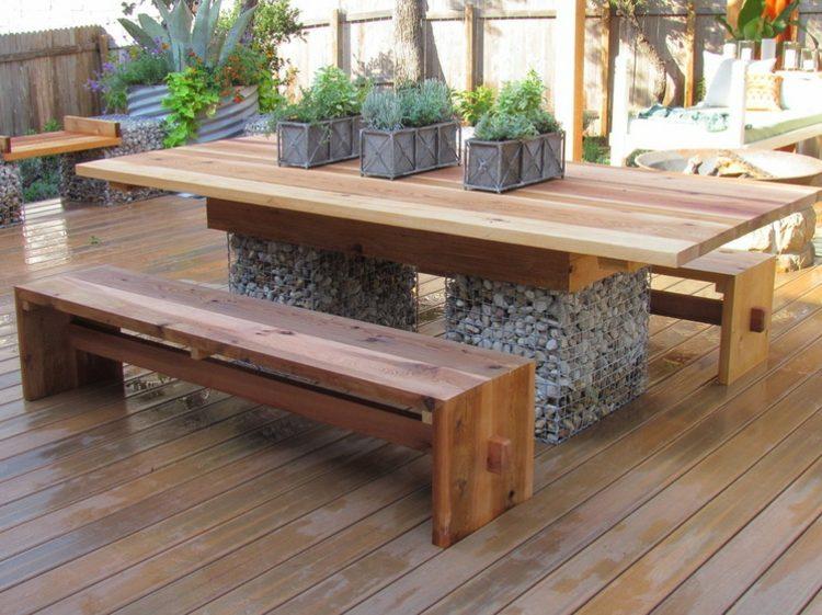 gabionen als deko im garten sitzbank esstisch terrasse moebel holz, Garten und erstellen