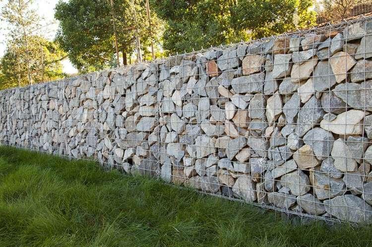 mauer gabionen idee landschaftsbau idee deko garten - boisholz, Garten und erstellen