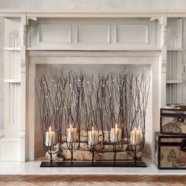 Fireplace Screen with Candles