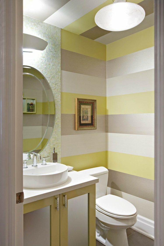 ideen badezimmer gelb wei spiegel modern - boisholz - Modern Streichen Streifen