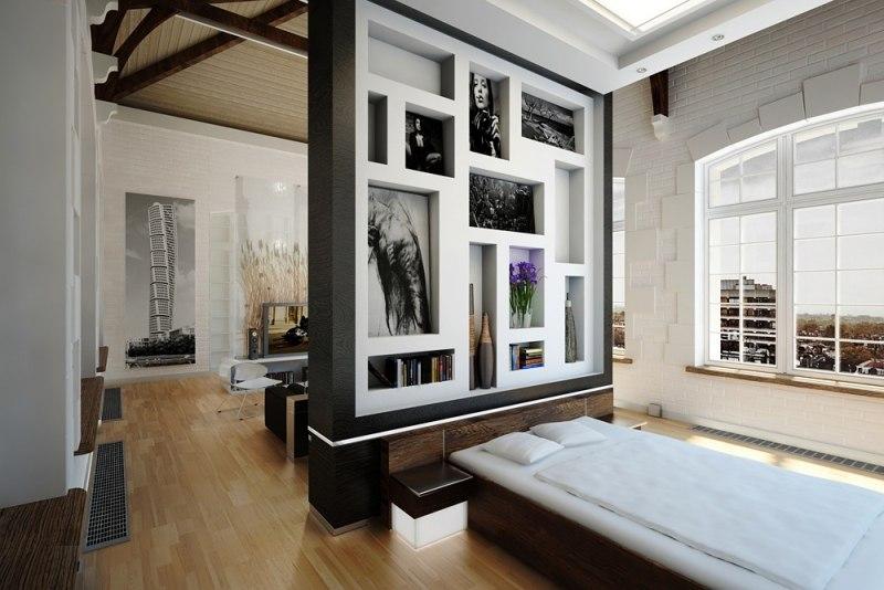 Schlafzimmer Mit Raumteiler Herrlich On Schlafzimmer Raumteiler, Wohnzimmer  Design