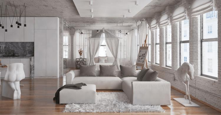 wohnzimmer modern baldachin grau weiss kissen kueche parkett moderne wohnzimmer interieur ideen