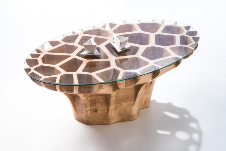 Couchtisch Holz Glas Rund Oval   Meuble Garten, Möbel