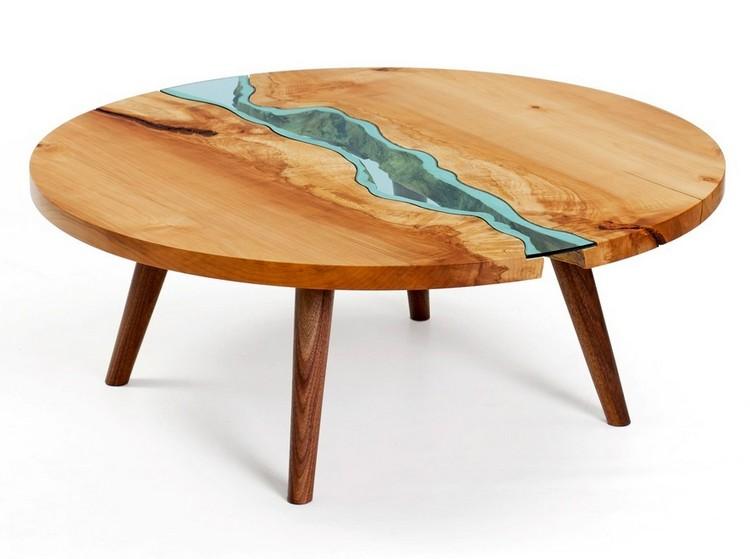 Designer Couchtische Rund Holz Glas Fluss Aehnelt