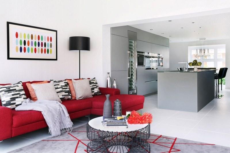 Wandgestaltung Wohnzimmer Grau Rot | Ziakia – Ragopige.Info