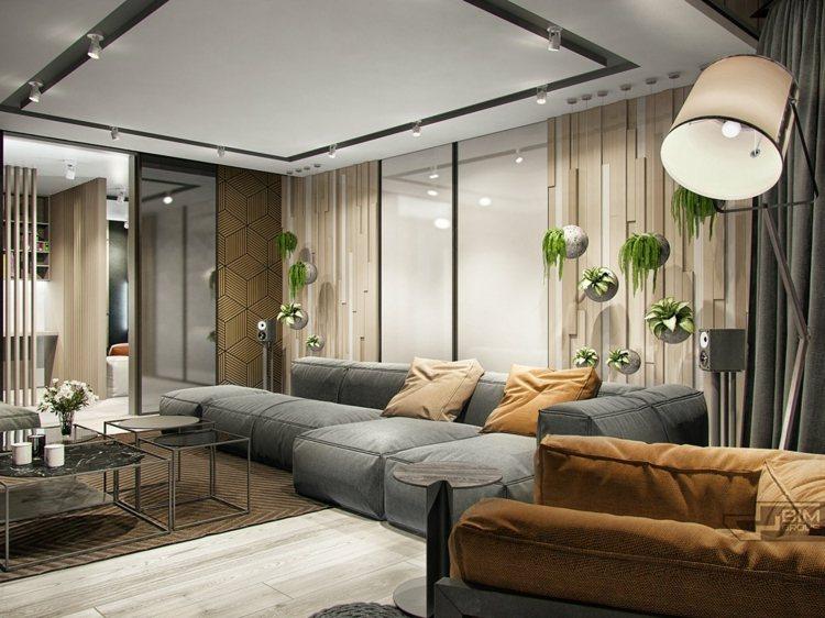 Wohnung mit grauer Einrichtung und natrlichen Materialien