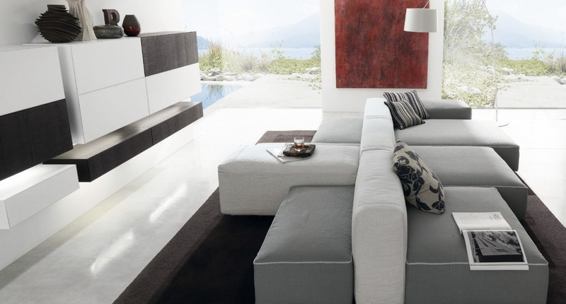 living room color with grey sofa white decorating ideas in grau - 50 wohnzimmer mit designer couch