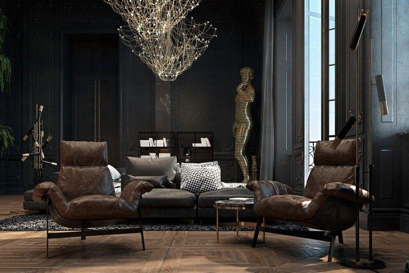 Einrichtung in Schwarz und Gold in einer Pariser Wohnung